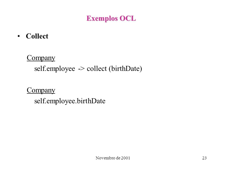 self.employee -> collect (birthDate)