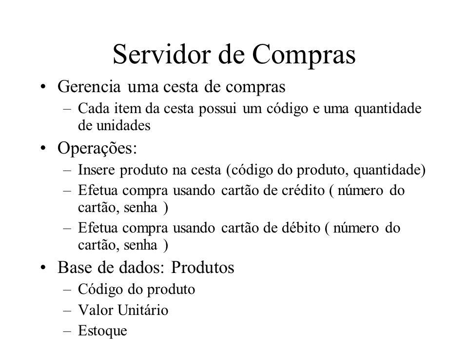 Servidor de Compras Gerencia uma cesta de compras Operações: