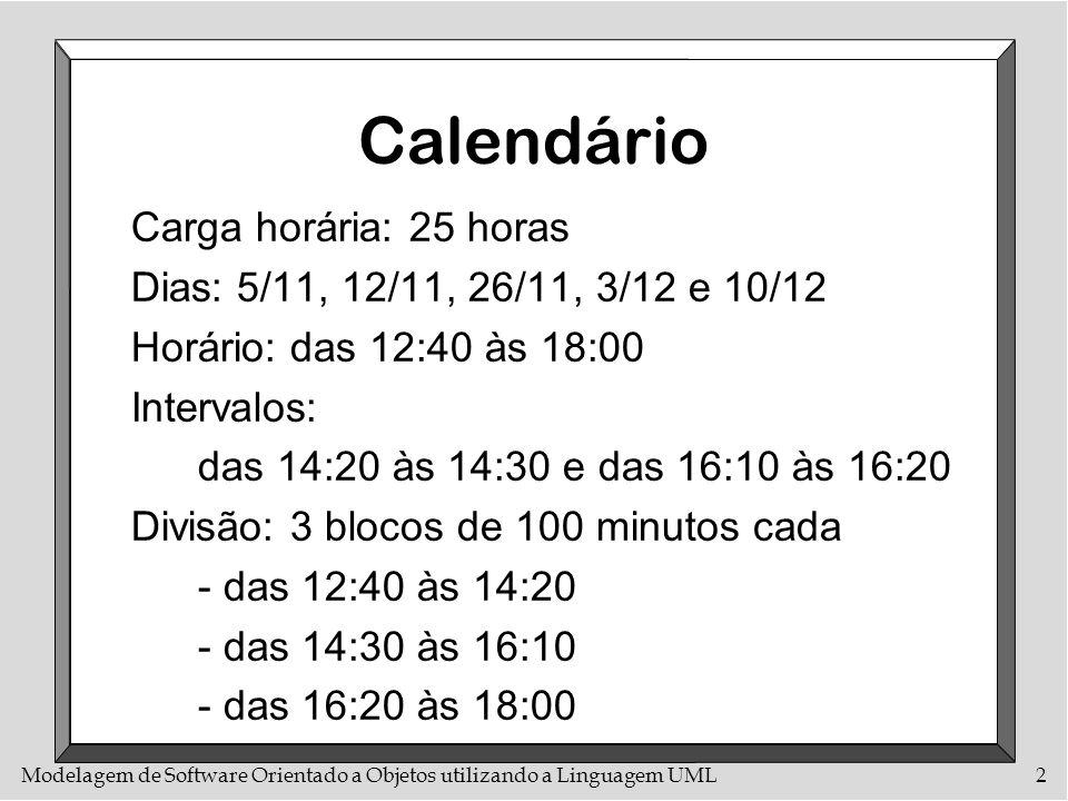 Calendário Carga horária: 25 horas