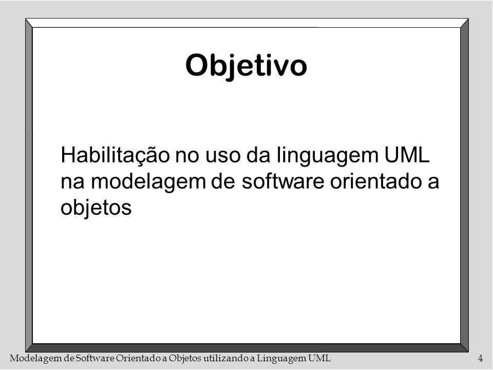 Objetivo Habilitação no uso da linguagem UML na modelagem de software orientado a objetos