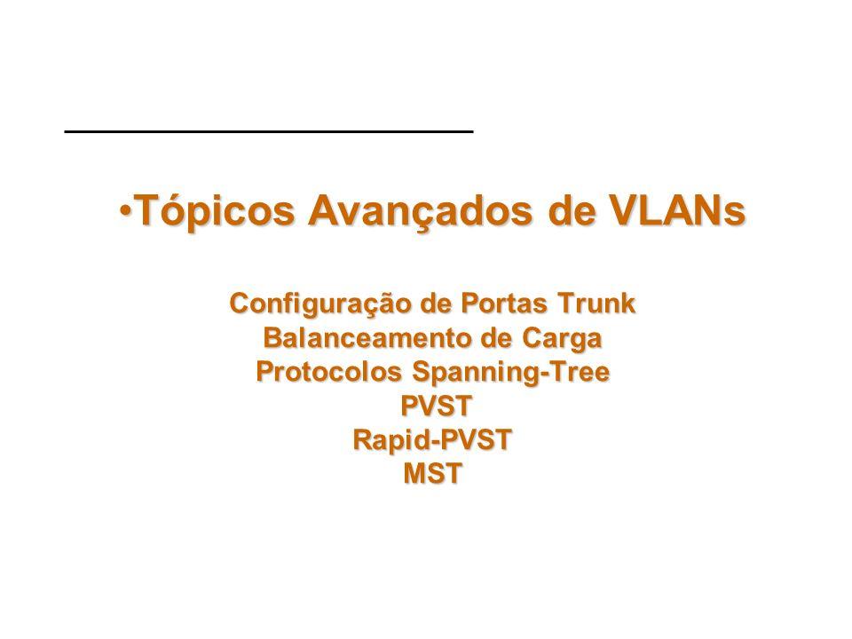 Tópicos Avançados de VLANs Configuração de Portas Trunk Balanceamento de Carga Protocolos Spanning-Tree PVST Rapid-PVST MST
