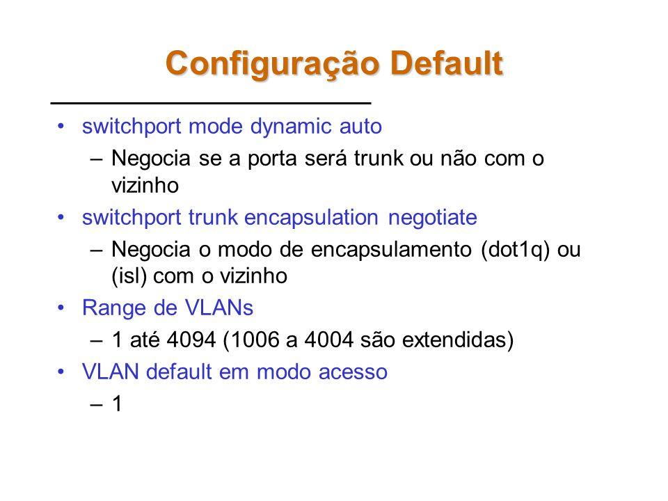Configuração Default switchport mode dynamic auto