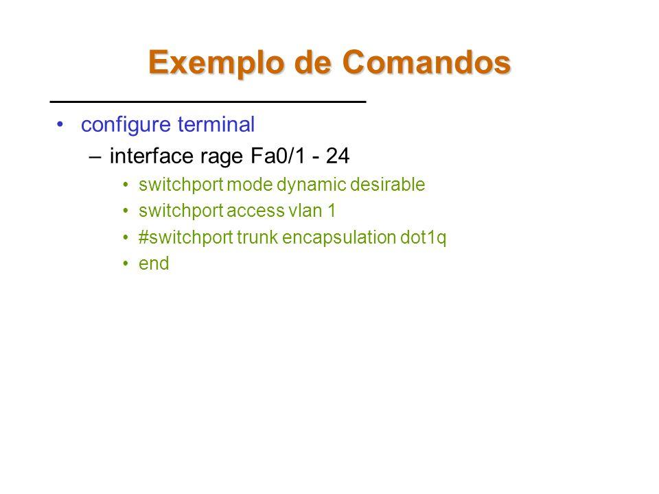 Exemplo de Comandos configure terminal interface rage Fa0/1 - 24