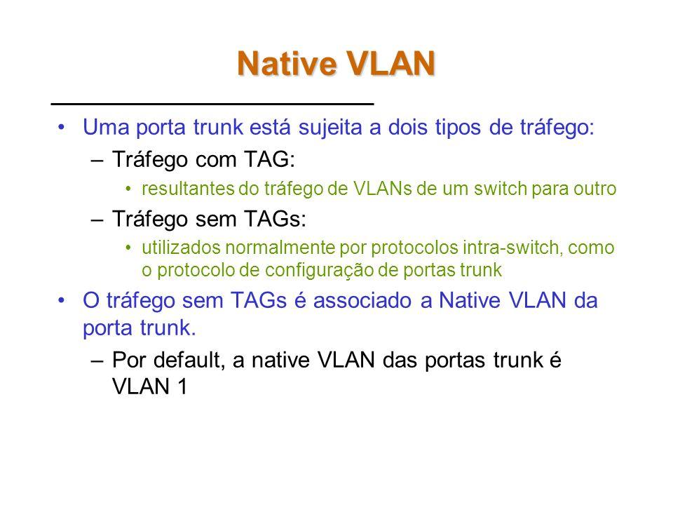 Native VLAN Uma porta trunk está sujeita a dois tipos de tráfego: