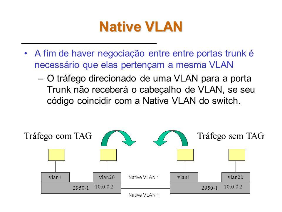 Native VLAN A fim de haver negociação entre entre portas trunk é necessário que elas pertençam a mesma VLAN.