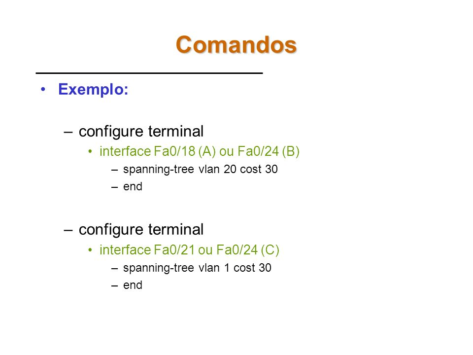Comandos Exemplo: configure terminal