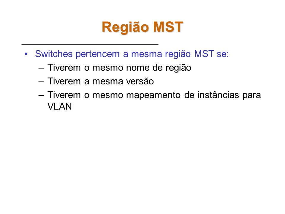 Região MST Switches pertencem a mesma região MST se: