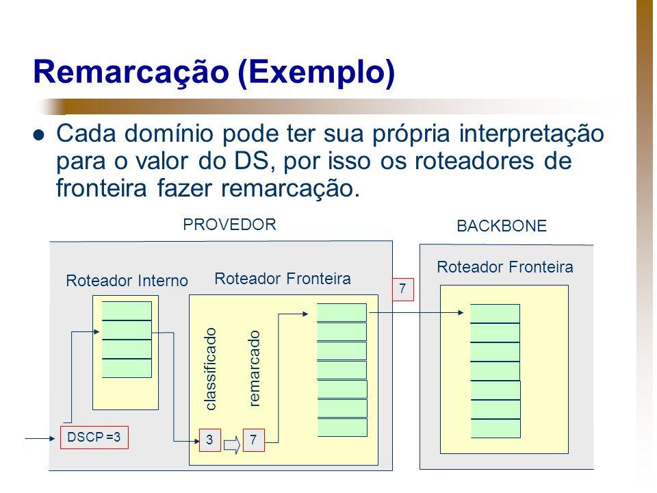 Remarcação (Exemplo) Cada domínio pode ter sua própria interpretação para o valor do DS, por isso os roteadores de fronteira fazer remarcação.