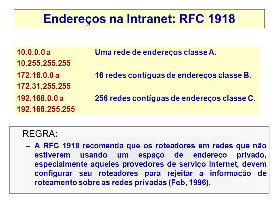 Endereços na Intranet: RFC 1918