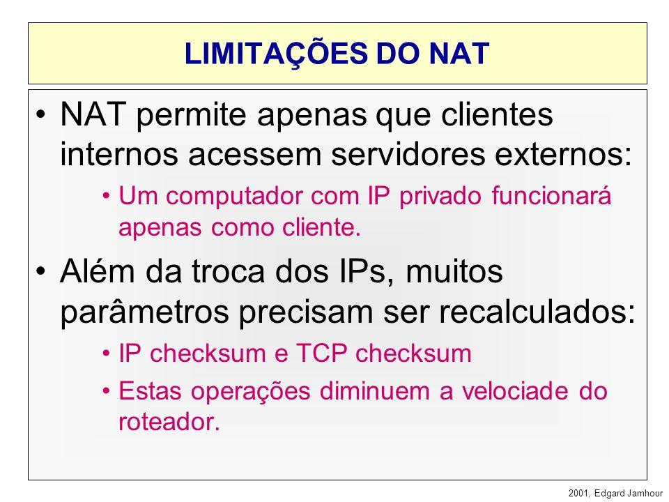 NAT permite apenas que clientes internos acessem servidores externos: