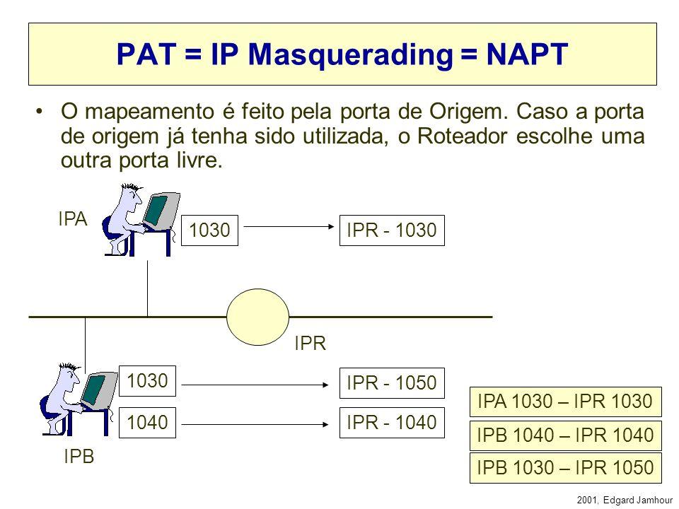 PAT = IP Masquerading = NAPT
