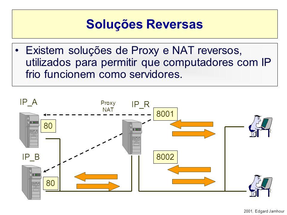 Soluções Reversas Existem soluções de Proxy e NAT reversos, utilizados para permitir que computadores com IP frio funcionem como servidores.