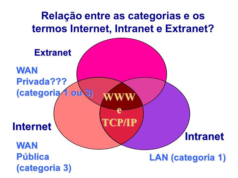 Relação entre as categorias e os termos Internet, Intranet e Extranet
