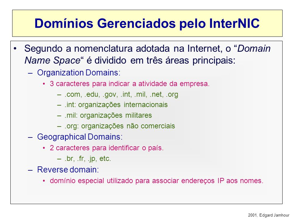 Domínios Gerenciados pelo InterNIC