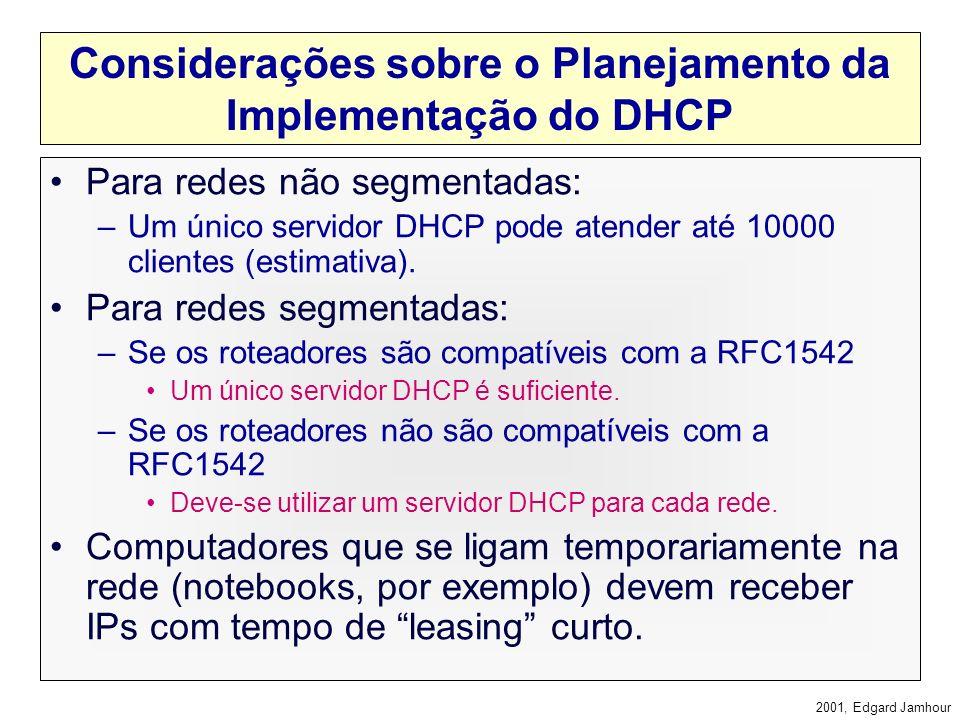 Considerações sobre o Planejamento da Implementação do DHCP