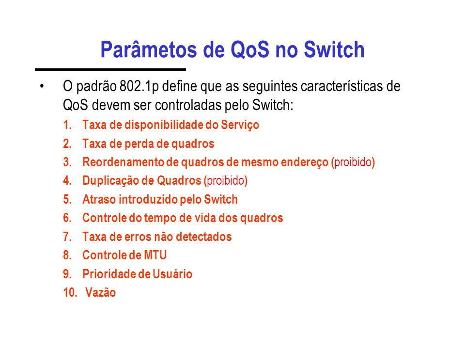 Parâmetos de QoS no Switch