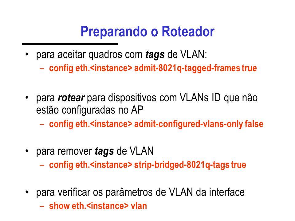 Preparando o Roteador para aceitar quadros com tags de VLAN: