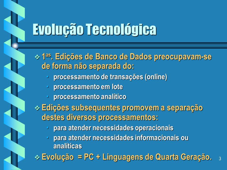 Evolução Tecnológica 1as. Edições de Banco de Dados preocupavam-se de forma não separada do: processamento de transações (online)