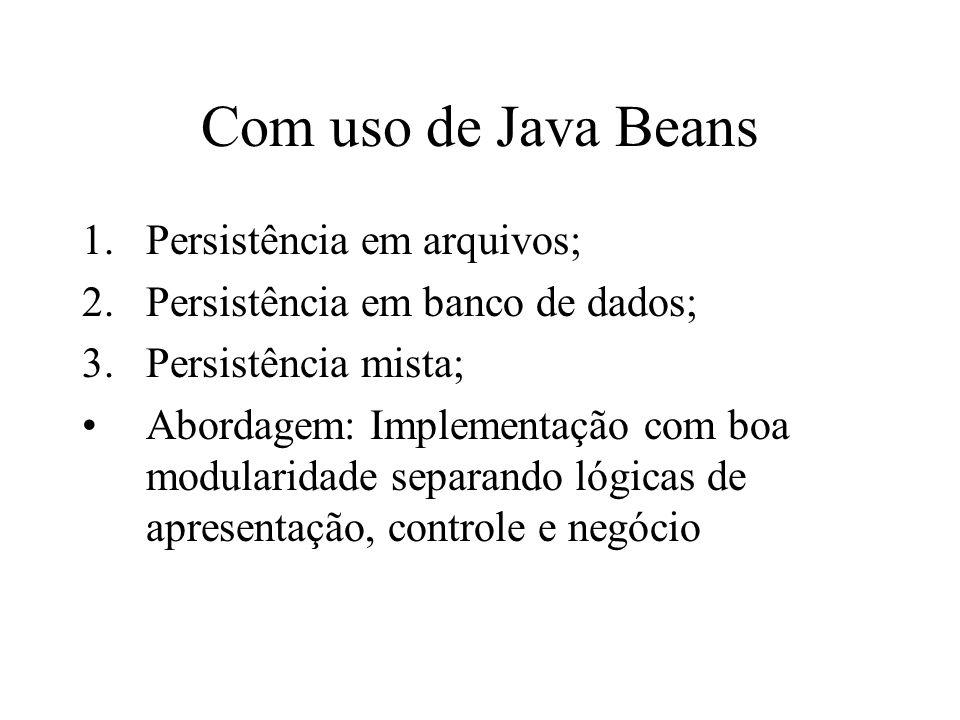 Com uso de Java Beans Persistência em arquivos;