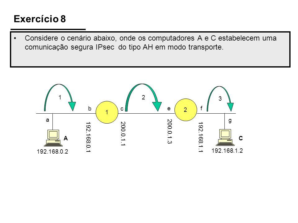 Exercício 8Considere o cenário abaixo, onde os computadores A e C estabelecem uma comunicação segura IPsec do tipo AH em modo transporte.