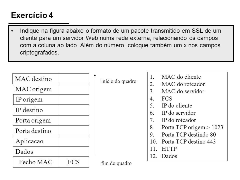 Exercício 4 MAC destino MAC origem IP origem IP destino Porta origem