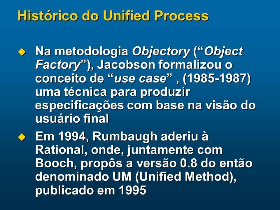 Histórico do Unified Process