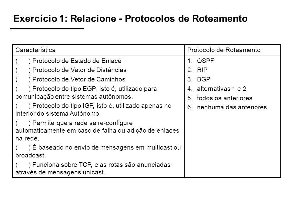 Exercício 1: Relacione - Protocolos de Roteamento