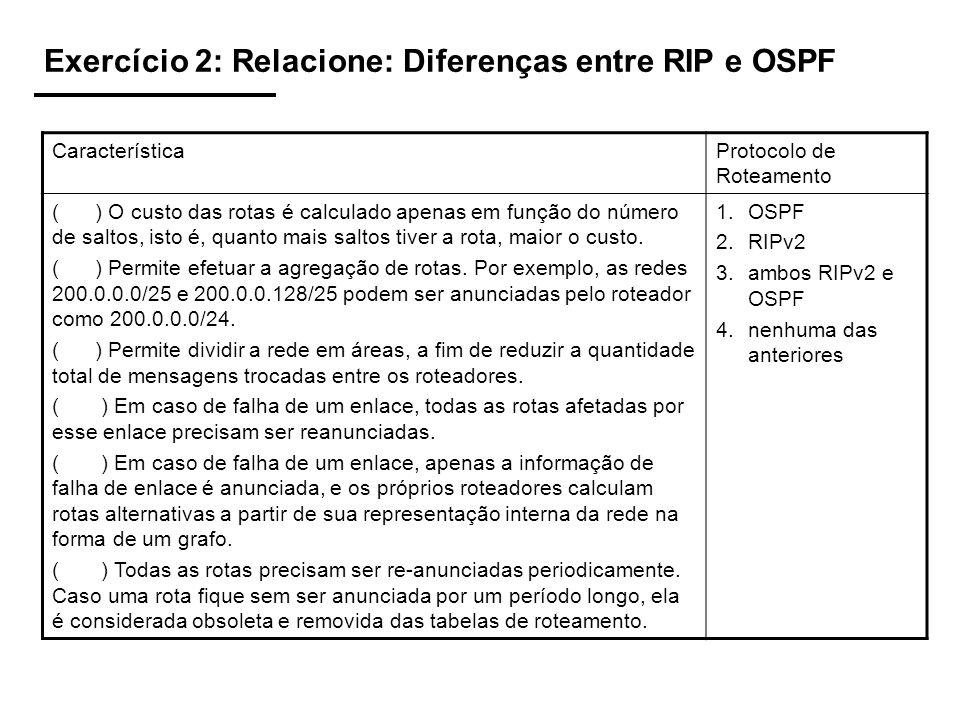 Exercício 2: Relacione: Diferenças entre RIP e OSPF
