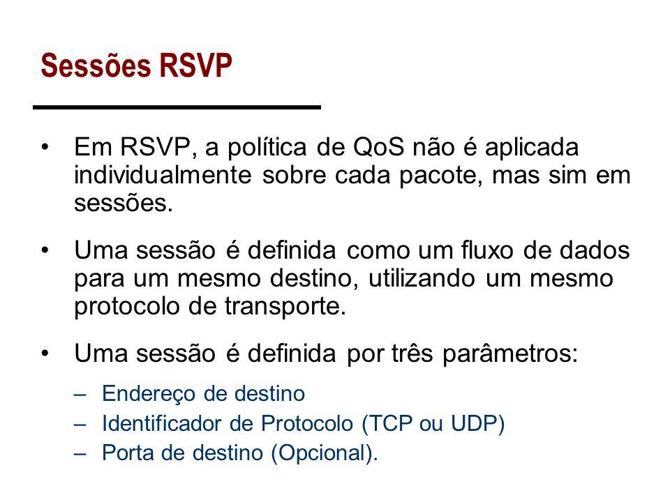Sessões RSVPEm RSVP, a política de QoS não é aplicada individualmente sobre cada pacote, mas sim em sessões.