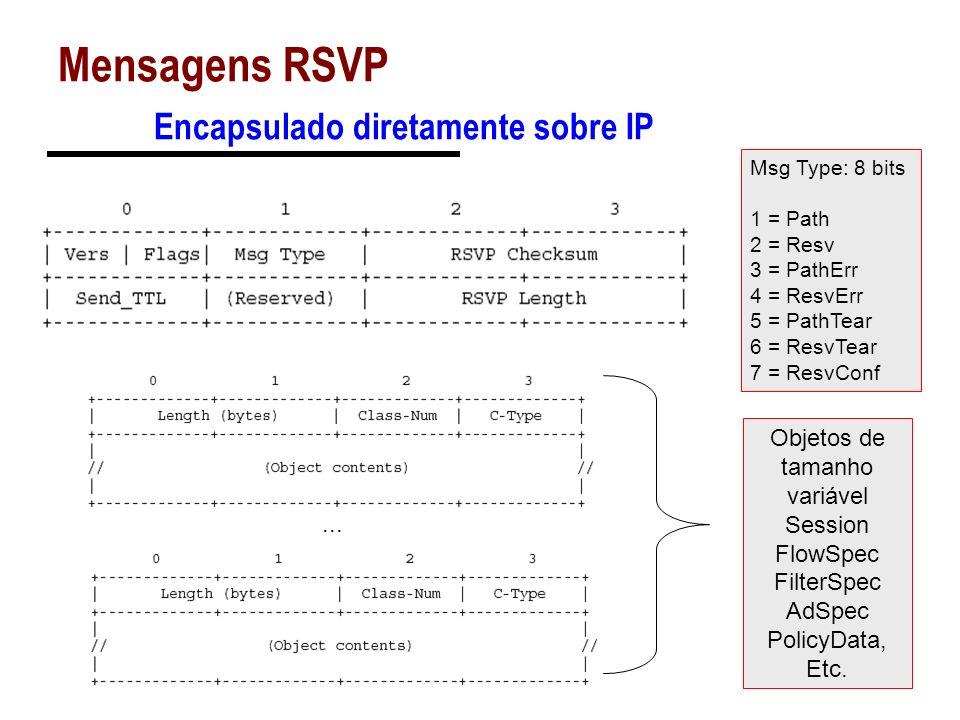 Mensagens RSVP Encapsulado diretamente sobre IP