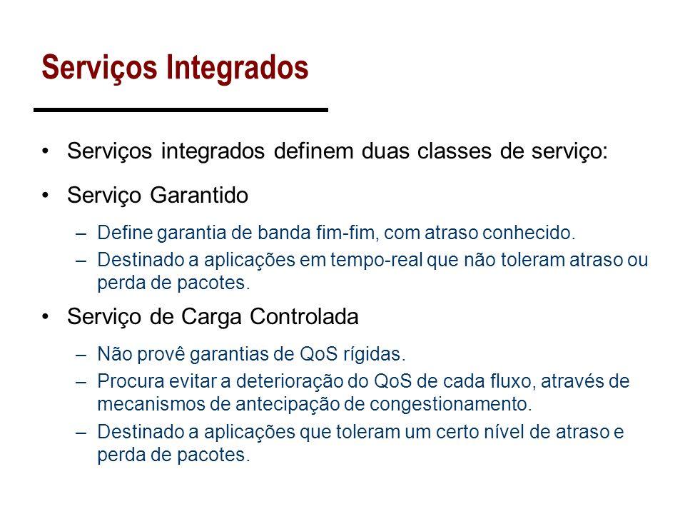 Serviços Integrados Serviços integrados definem duas classes de serviço: Serviço Garantido. Define garantia de banda fim-fim, com atraso conhecido.