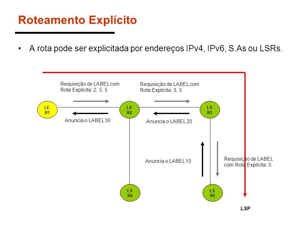 Roteamento Explícito A rota pode ser explicitada por endereços IPv4, IPv6, S.As ou LSRs. LSP. Requisição de LABEL com Rota Explicita: 2, 3, 5.