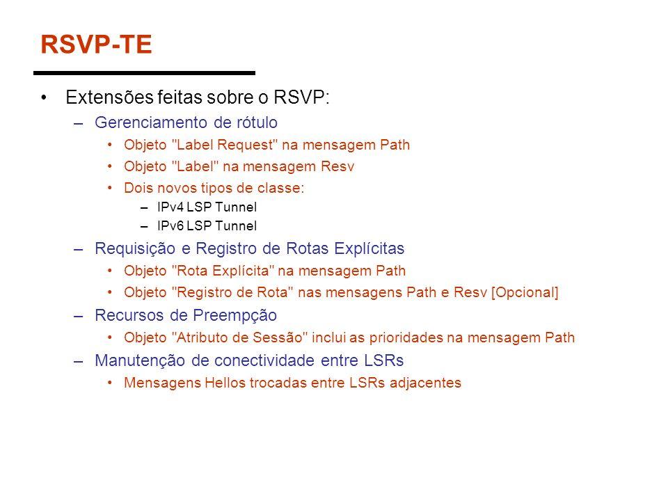 RSVP-TE Extensões feitas sobre o RSVP: Gerenciamento de rótulo