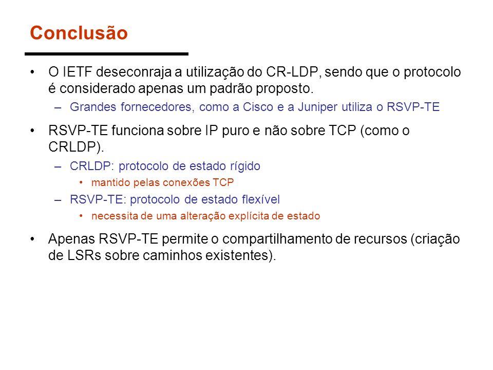ConclusãoO IETF deseconraja a utilização do CR-LDP, sendo que o protocolo é considerado apenas um padrão proposto.
