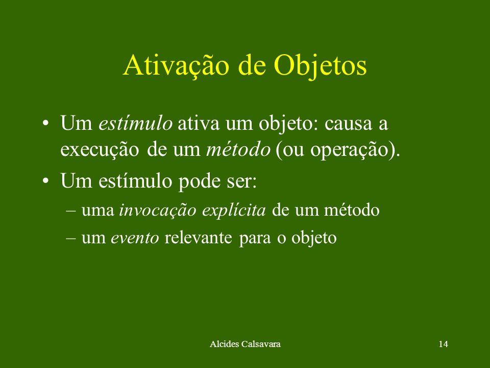 Ativação de Objetos Um estímulo ativa um objeto: causa a execução de um método (ou operação). Um estímulo pode ser: