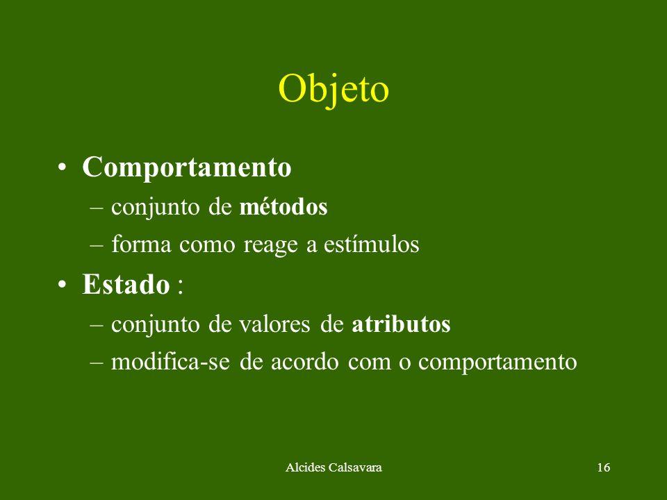Objeto Comportamento Estado : conjunto de métodos