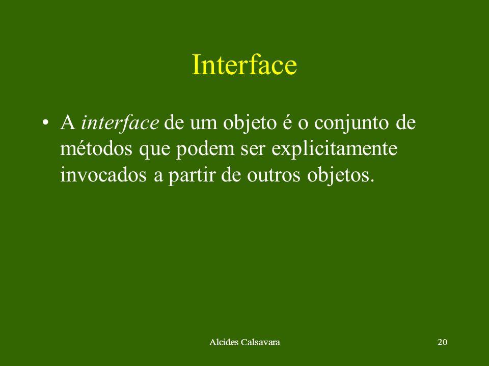 Interface A interface de um objeto é o conjunto de métodos que podem ser explicitamente invocados a partir de outros objetos.