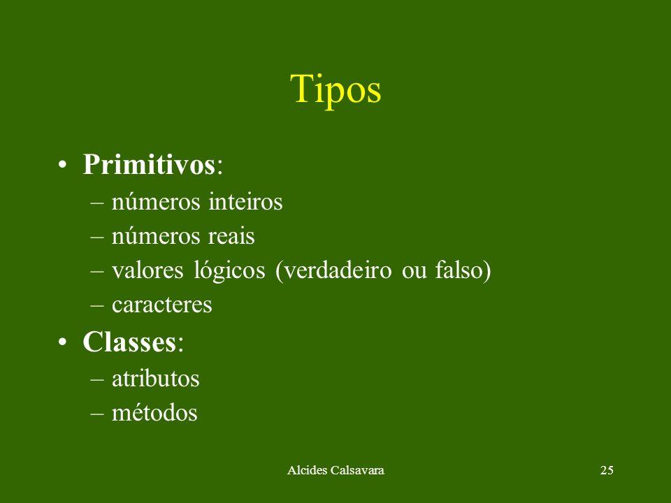 Tipos Primitivos: Classes: números inteiros números reais