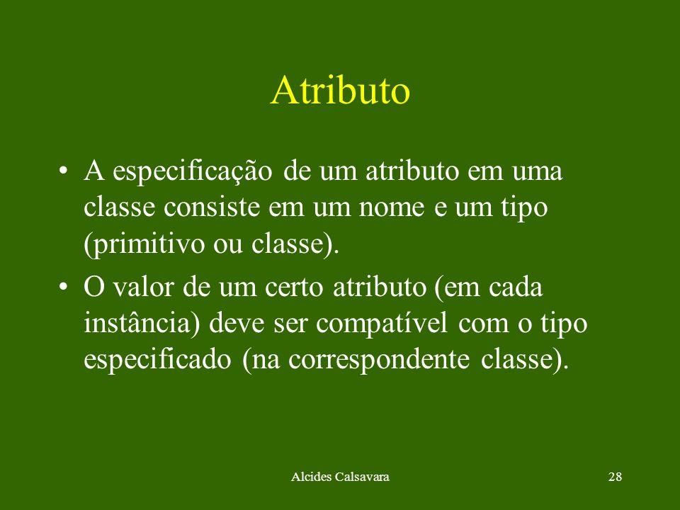Atributo A especificação de um atributo em uma classe consiste em um nome e um tipo (primitivo ou classe).