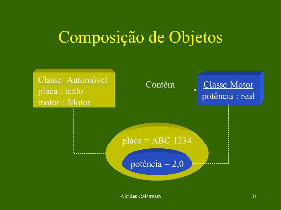 Composição de Objetos Classe Automóvel Classe Motor placa : texto