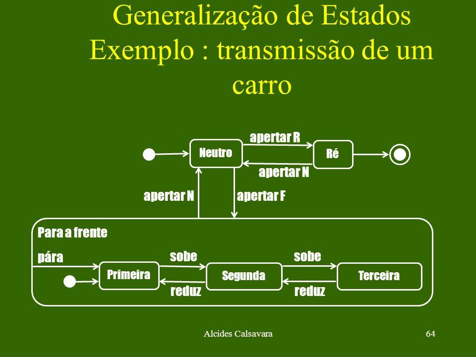 Generalização de Estados Exemplo : transmissão de um carro