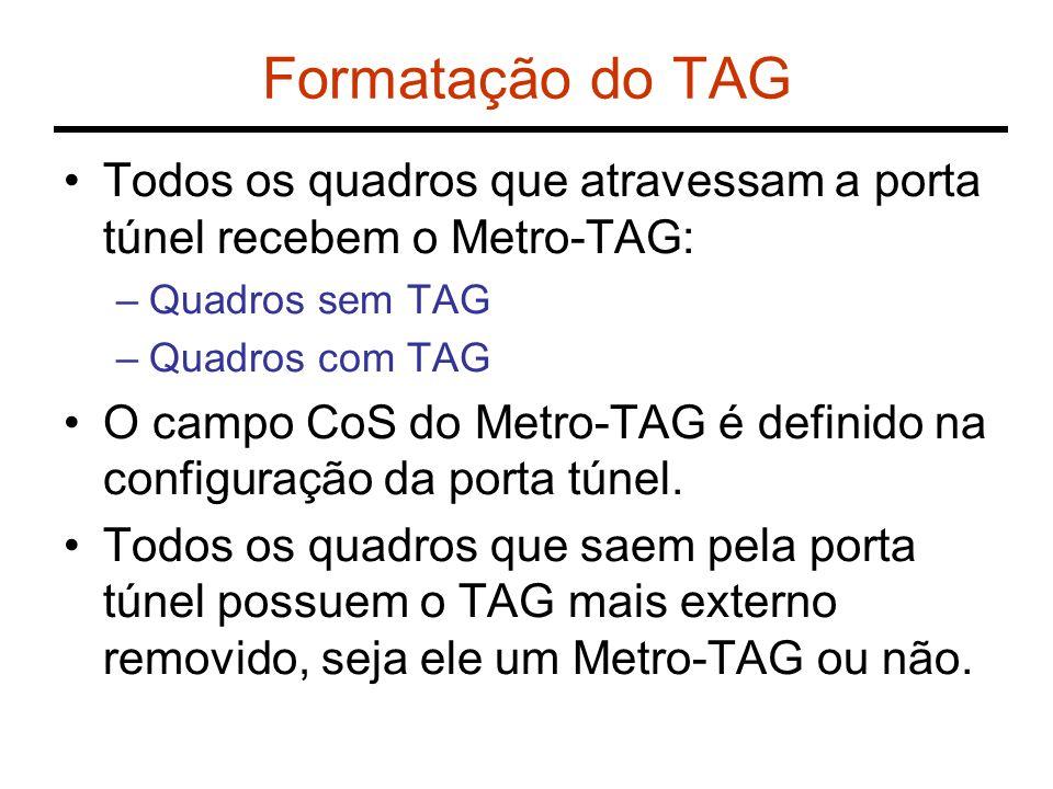 Formatação do TAG Todos os quadros que atravessam a porta túnel recebem o Metro-TAG: Quadros sem TAG.