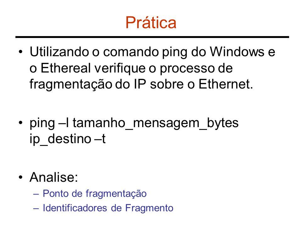 Prática Utilizando o comando ping do Windows e o Ethereal verifique o processo de fragmentação do IP sobre o Ethernet.