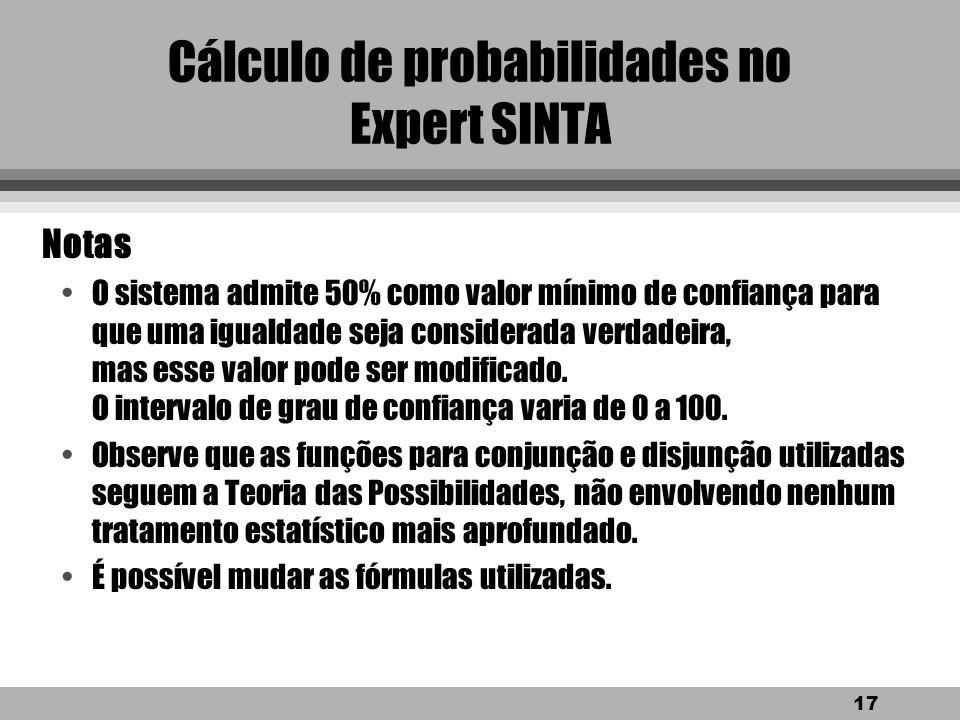 Cálculo de probabilidades no Expert SINTA