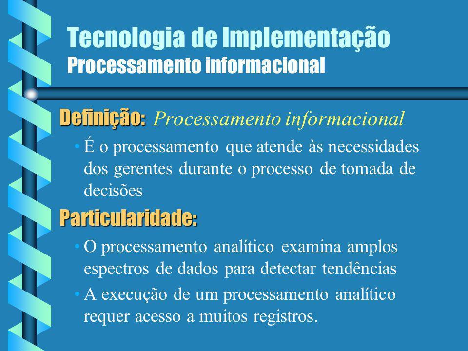 Tecnologia de Implementação Processamento informacional