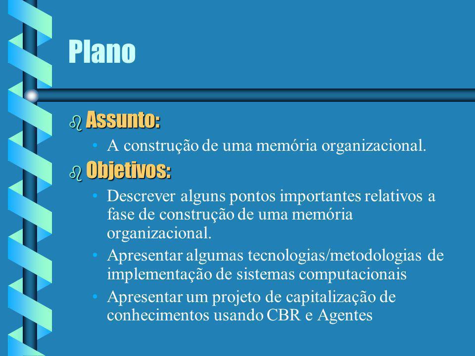 Plano Assunto: Objetivos: A construção de uma memória organizacional.