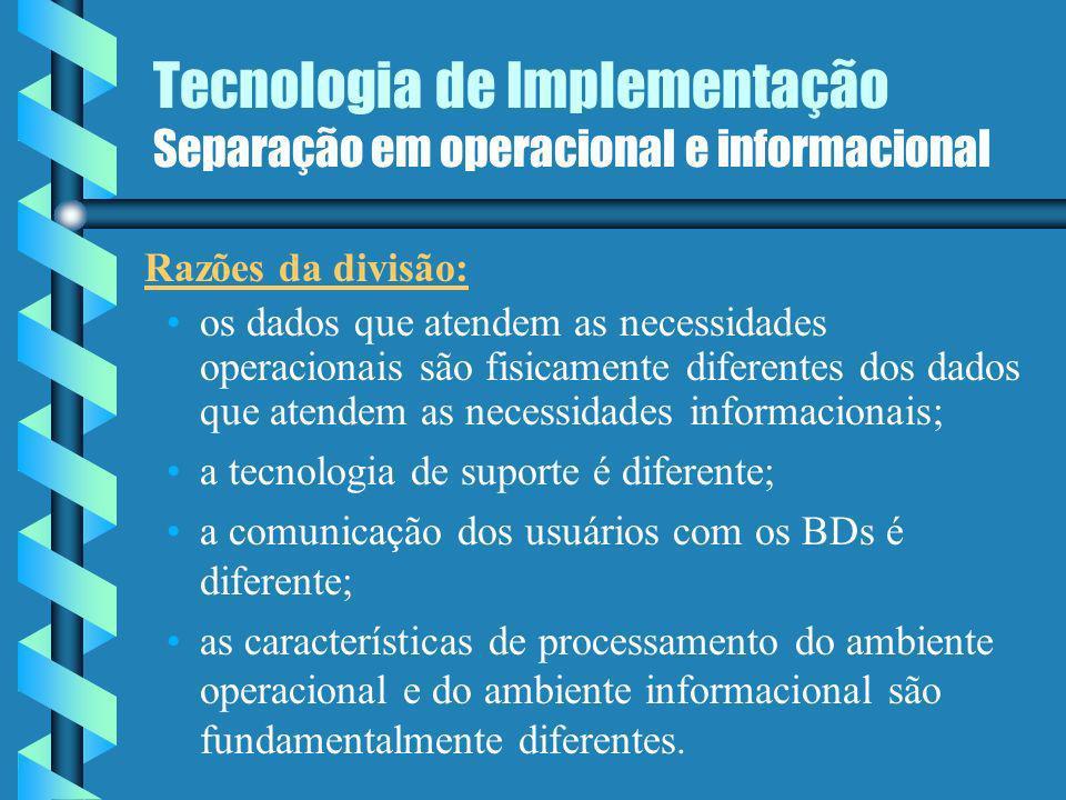 Tecnologia de Implementação Separação em operacional e informacional