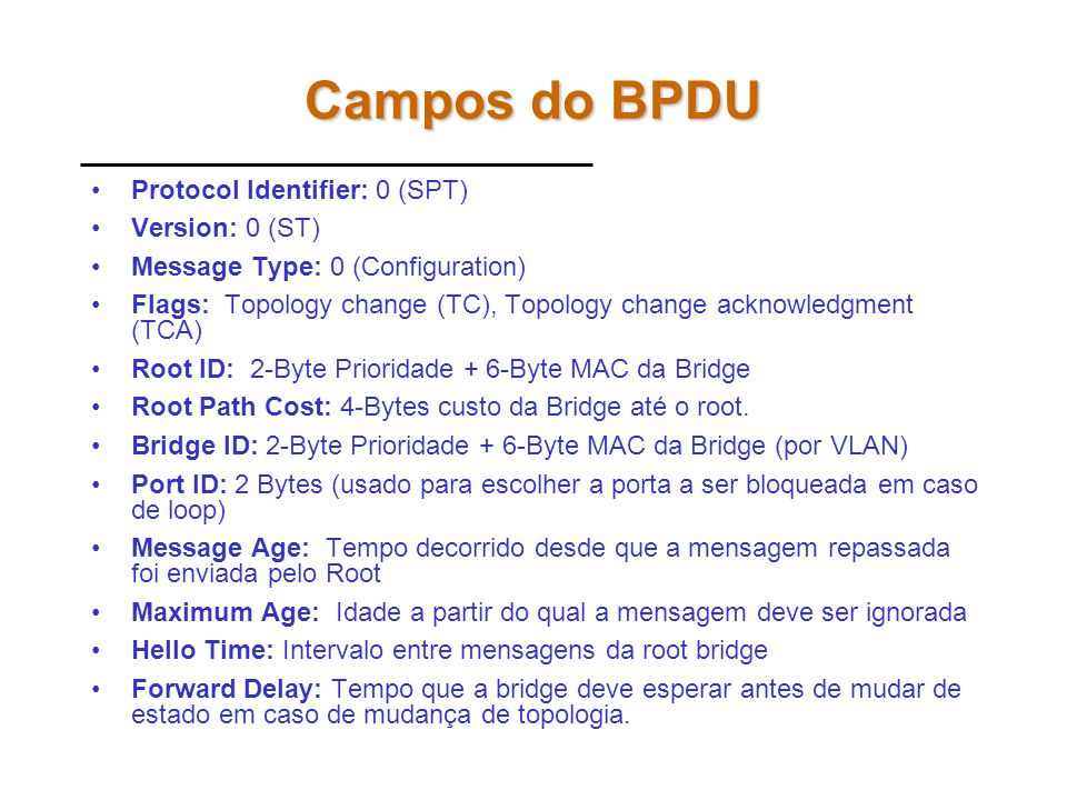 Campos do BPDU Protocol Identifier: 0 (SPT) Version: 0 (ST)