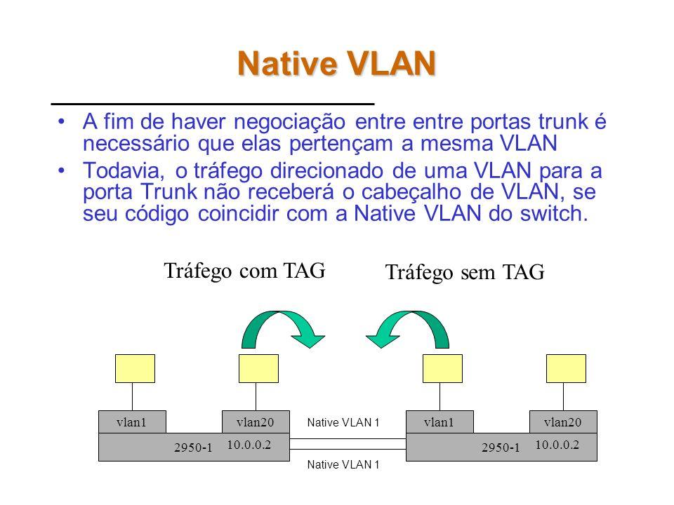 Native VLANA fim de haver negociação entre entre portas trunk é necessário que elas pertençam a mesma VLAN.