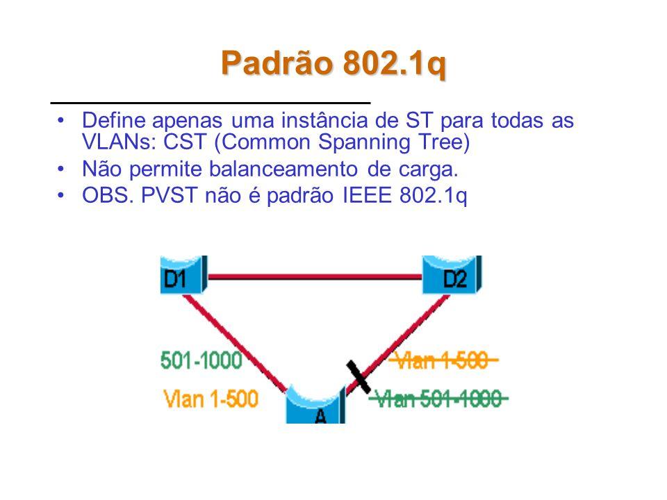 Padrão 802.1qDefine apenas uma instância de ST para todas as VLANs: CST (Common Spanning Tree) Não permite balanceamento de carga.